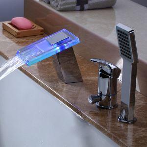 LED浴槽水栓 バス蛇口 シャワー混合栓 浴室水栓 ハンドシャワー付 水道蛇口 水流発電 3点 クロム