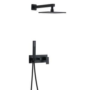 埋込形シャワー水栓 レインシャワーシステム バス水栓 ヘッドシャワー ハンドシャワー 混合栓 黒色