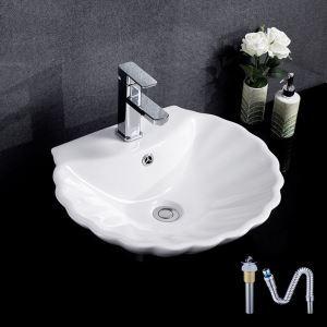 洗面ボール 手洗い鉢 洗面器 洗面ボウル 陶器 排水栓&排水トラップ付 シエル型 蛇口穴付 和風 51cm
