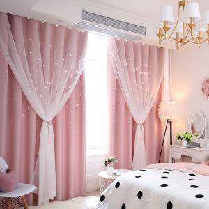 遮光カーテン カーテンレースセット シアーカーテン付 既製 透かし彫り 星 寝室 姫系 お得サイズ 1級遮光(1枚)