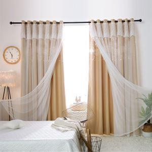 遮光カーテン カーテンレースセット シアーカーテン付 既製 透かし彫り 音符 オシャレ お得サイズ 1級遮光(1枚)
