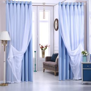 遮光カーテン カーテンレースセット シアーカーテン付 寝室 無地柄 現代風 青色(1枚)