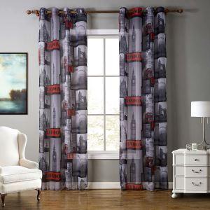 レースカーテン シアーカーテン 既製カーテン 捺染 建築柄 子供屋 北欧風 オシャレ お得サイズ(1枚)
