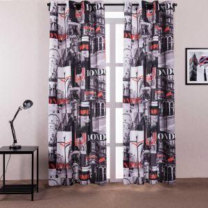 遮光カーテン 既製カーテン 捺染 城市柄 子供屋 北欧風 オシャレ お得サイズ 3級遮光カーテン(1枚)