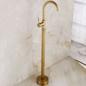 床置き型シャワー水栓 床立ち上げ式浴槽蛇口 冷熱混合栓 水道蛇口 ブラス色