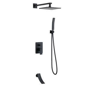 埋込形シャワー水栓 レインシャワーシステム バス水栓 ヘッドシャワー ハンドシャワー 蛇口 混合栓 黒色/ヘアライン