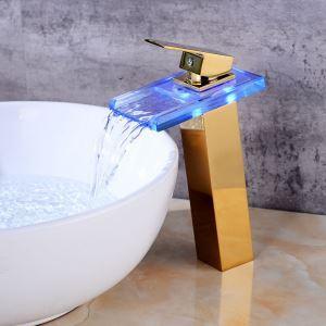 LED洗面蛇口 バス水栓 冷熱混合栓 水道蛇口 水流発電 金色