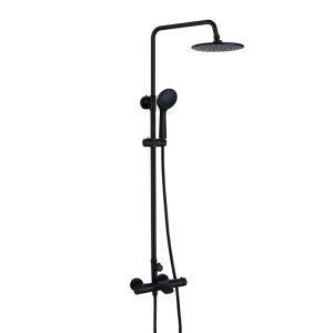 埋込形シャワー水栓 シャワーシステム サーモスタット式混合栓 ヘッドシャワー+ハンドシャワー+蛇口 黒色