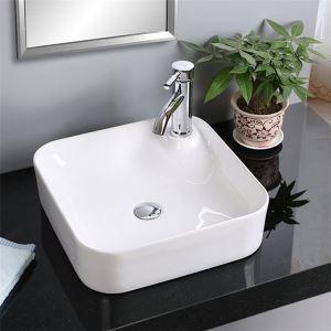 洗面ボール 手洗い鉢 洗面器 洗面ボウル 陶器 排水栓&排水トラップ付 方形 蛇口穴付 和風 42cm