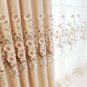 遮光カーテン オーダーカーテン オシャレ 刺繍 朝顔柄 3級遮熱カーテン(1枚) 2色