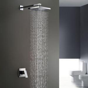 埋込形シャワー水栓 ヘッドシャワー バス蛇口 レインシャワーヘッド 混合栓 クロム(0758HM6109)