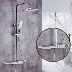 浴室シャワー水栓 シャワーシステム サーモスタット式混合栓 バス水栓 小物収納付 クロム&黒色