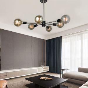 シャンデリア リビング照明 和室照明 北欧風 魔豆型 黒色 6灯