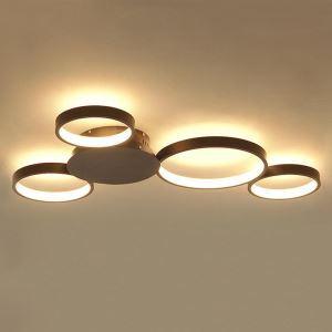 LEDシーリングライト 照明器具 リビング照明 寝室照明 天井照明 オシャレ 北欧風 4輪 珈琲色 LED対応 LBY18052