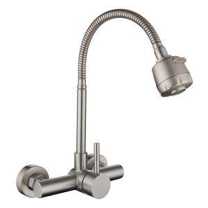 壁付蛇口 キッチン水栓 台所蛇口 冷熱混合栓 整流&シャワー吐水式 360°回転 ヘアライン