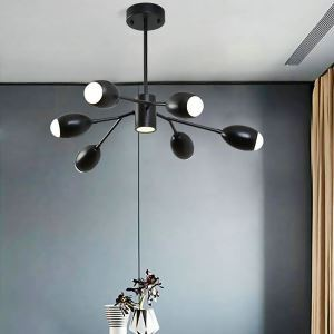 LEDシャンデリア リビング照明 寝室照明 北欧風 枝型 黒色 6/8/10灯 LED対応