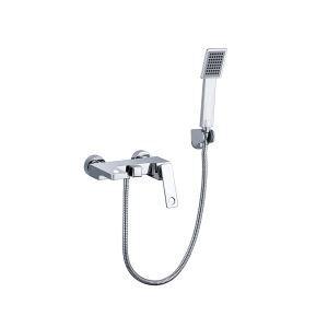 浴室シャワー水栓 バス水栓 ハンドシャワー付 蛇口付 混合水栓 壁付 クロム&黒色