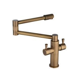 キッチン水栓 台所蛇口 冷熱混合栓 水道蛇口 水栓金具 2ハンドル 360°回転 折畳み ブラス