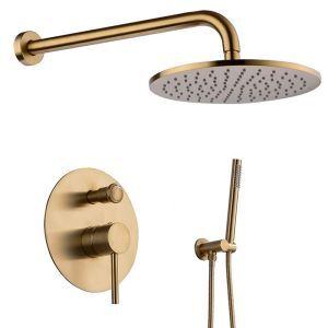 埋込形シャワー水栓 レインシャワーシステム バス水栓 ヘッドシャワー ハンドシャワー 混合栓 黒色/金色