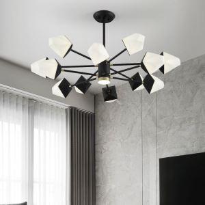 LEDシャンデリア リビング照明 寝室照明 黒色 多辺形 北欧風 6/8/10/12灯 LED対応
