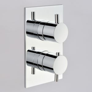 サーモシャワーバルブ 埋込形バルブ スイッチ部品 シャワー水栓用 1吐水口2入口 クロム