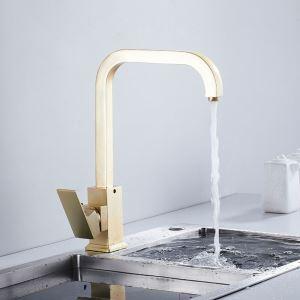 キッチン蛇口 台所蛇口 冷熱混合栓 水道蛇口 真鍮 金色 H34cm