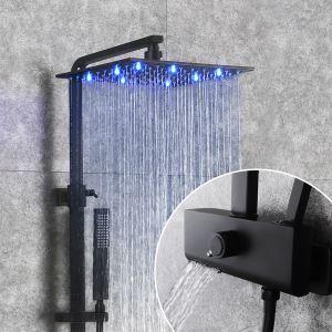 浴室LEDシャワー水栓 シャワーシステム ヘッドシャワー+ハンドシャワー+蛇口 バス水栓 黒色