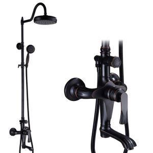 浴室シャワー水栓 シャワーシステム ヘッドシャワー+ハンドシャワー+回転蛇口 バス水栓 黒色