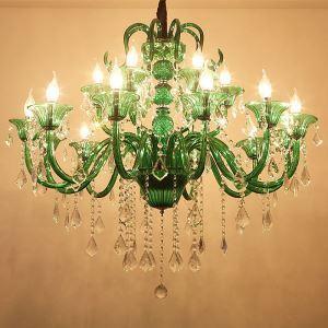 シャンデリア クリスタル リビング照明 ダイニング照明 吹き抜け照明 緑色 オシャレ