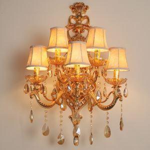 壁掛けライト クリスタル照明 ウォールランプ ブラケット 照明器具 玄関照明 金色 5灯