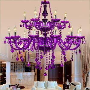 シャンデリア クリスタル リビング照明 ダイニング照明 吹き抜け照明 紫色 オシャレ HQJ90886
