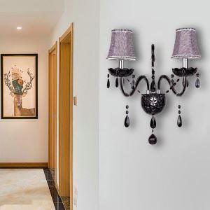 壁掛けライト クリスタル照明 ウォールランプ ブラケット 照明器具 玄関照明 黒色 2灯