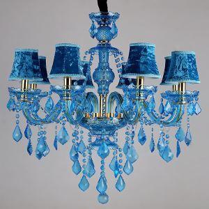 シャンデリア クリスタル リビング照明 ダイニング照明 吹き抜け照明 青色 オシャレ HQ9050