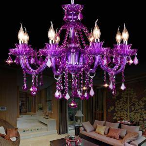 シャンデリア クリスタル リビング照明 ダイニング照明 吹き抜け照明 紫色 オシャレ HQ9024