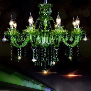 シャンデリア クリスタル リビング照明 ダイニング照明 吹き抜け照明 緑色 オシャレ HQ9022