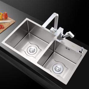 キッチンシンク 台所流し台 2槽 ステンレス製 手作り 厚さ D7541