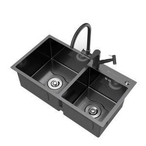 キッチンシンク 台所流し台 2槽 ステンレス製 手作り 黒色 厚さ D7541