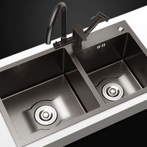 キッチンシンク 台所流し台 2槽 オーバーシンク アンダーシンク 黒色 ナノ技術 手作り 厚さ 7541