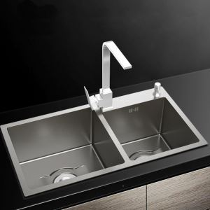 キッチンシンク 台所流し台 2槽 ステンレス製 手作り 厚さ D7843