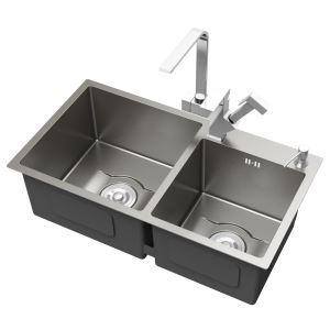 キッチンシンク 台所流し台 2槽 ステンレス製 手作り 厚さ D8045