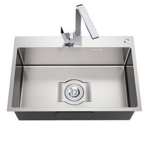 キッチンシンク 台所流し台 1槽 ステンレス製 手作り 厚さ S6545