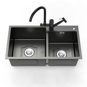 キッチンシンク 台所流し台 2槽 ステンレス製 手作り 黒色 厚さ D8245