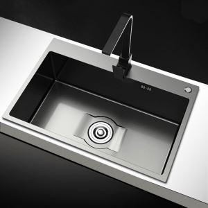 キッチンシンク 台所流し台 1槽 ステンレス製 手作り 黒色 厚さ S6545