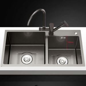 キッチンシンク 台所流し台 2槽 ステンレス製 手作り 黒色 厚さ D8045