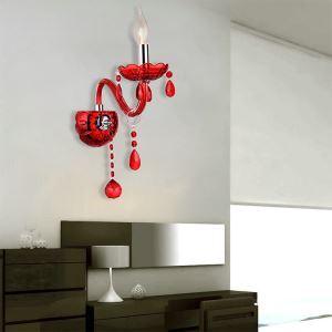 壁掛けライト クリスタル照明 ウォールランプ ブラケット 照明器具 玄関照明 赤色 1灯/2灯