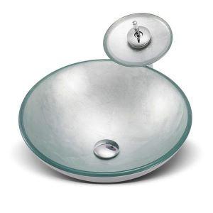 洗面ボウル&蛇口セット 手洗い鉢 洗面器 強化ガラス製 排水金具付 オシャレ