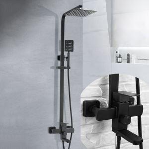 浴室シャワー水栓 シャワーシステム バス水栓 回転蛇口付 ステンレス鋼 バス水栓 黒色