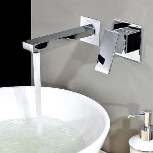 壁付水栓 洗面蛇口 バス水栓 冷熱混合栓 クロム