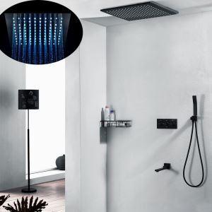埋込形シャワー水栓 シャワーシステム ヘッドシャワー+ハンドシャワー+蛇口 クロム&黒色
