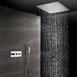 埋込形シャワー水栓 シャワーシステム サーモスタット式混合栓 ヘッドシャワー+ハンドシャワー クロム